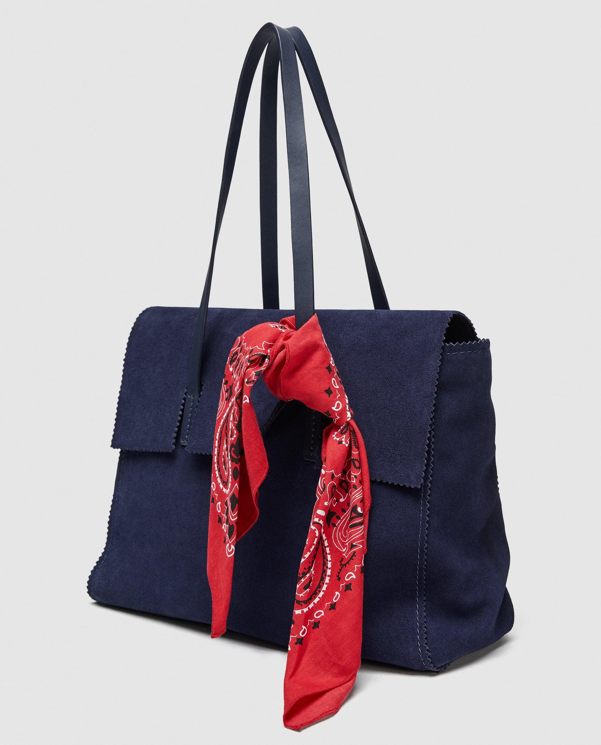 Borsa a spalla in pelle con bandana Zara collezione primavera estate 2018