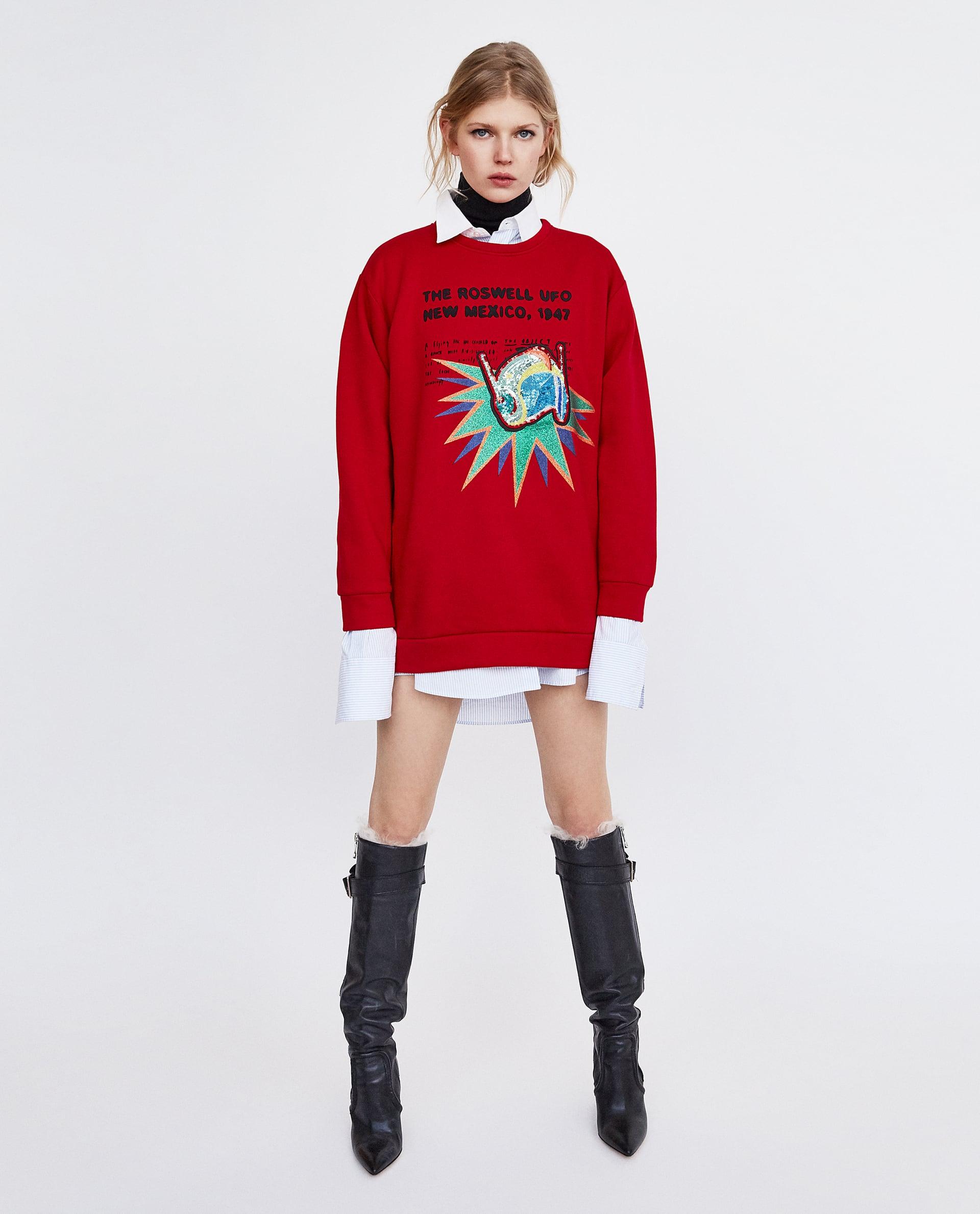 Felpa Zara con applicazioni saldi invernali 2018