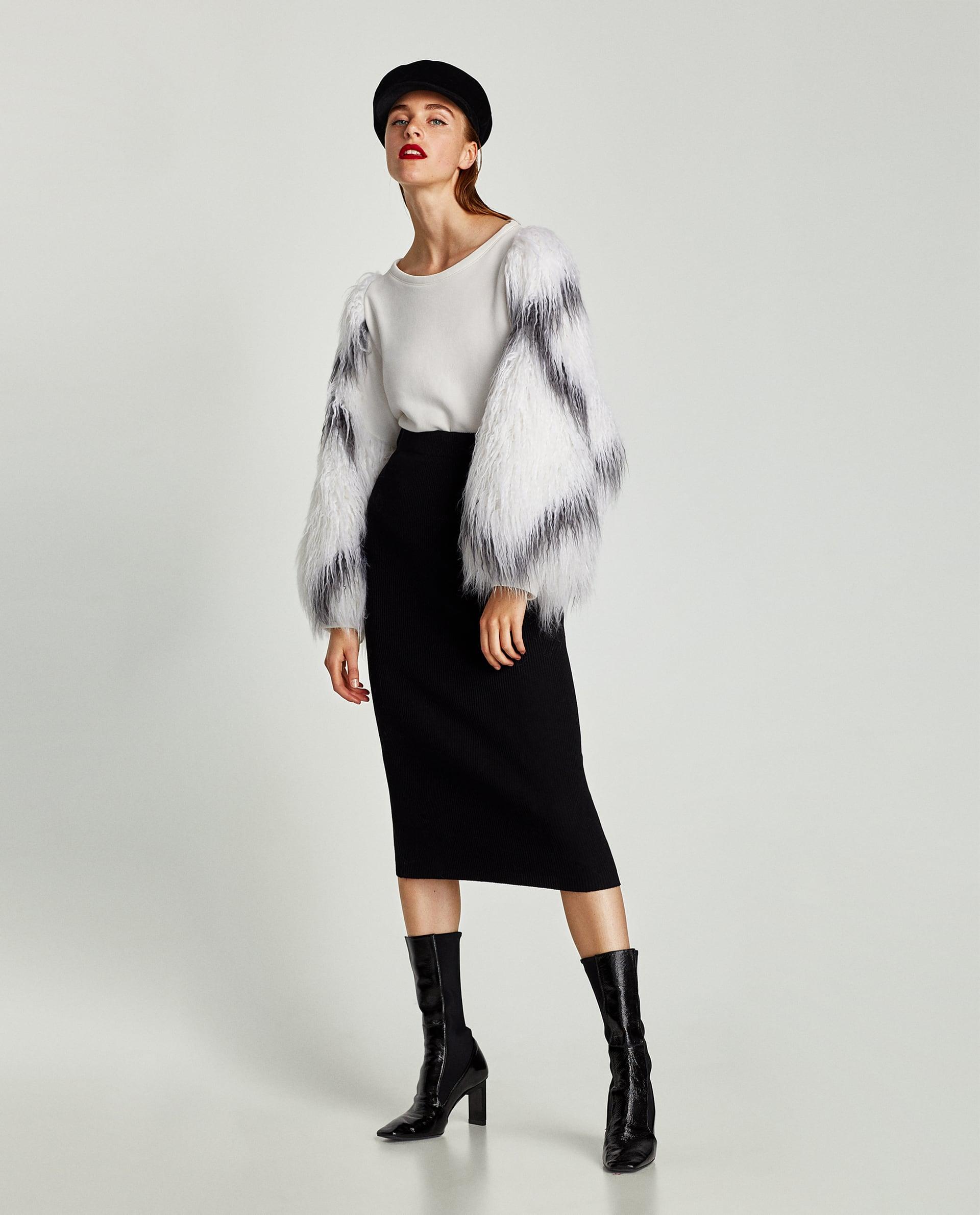 Felpa con maniche in pelliccia sintetica Zara saldi invernali 2018