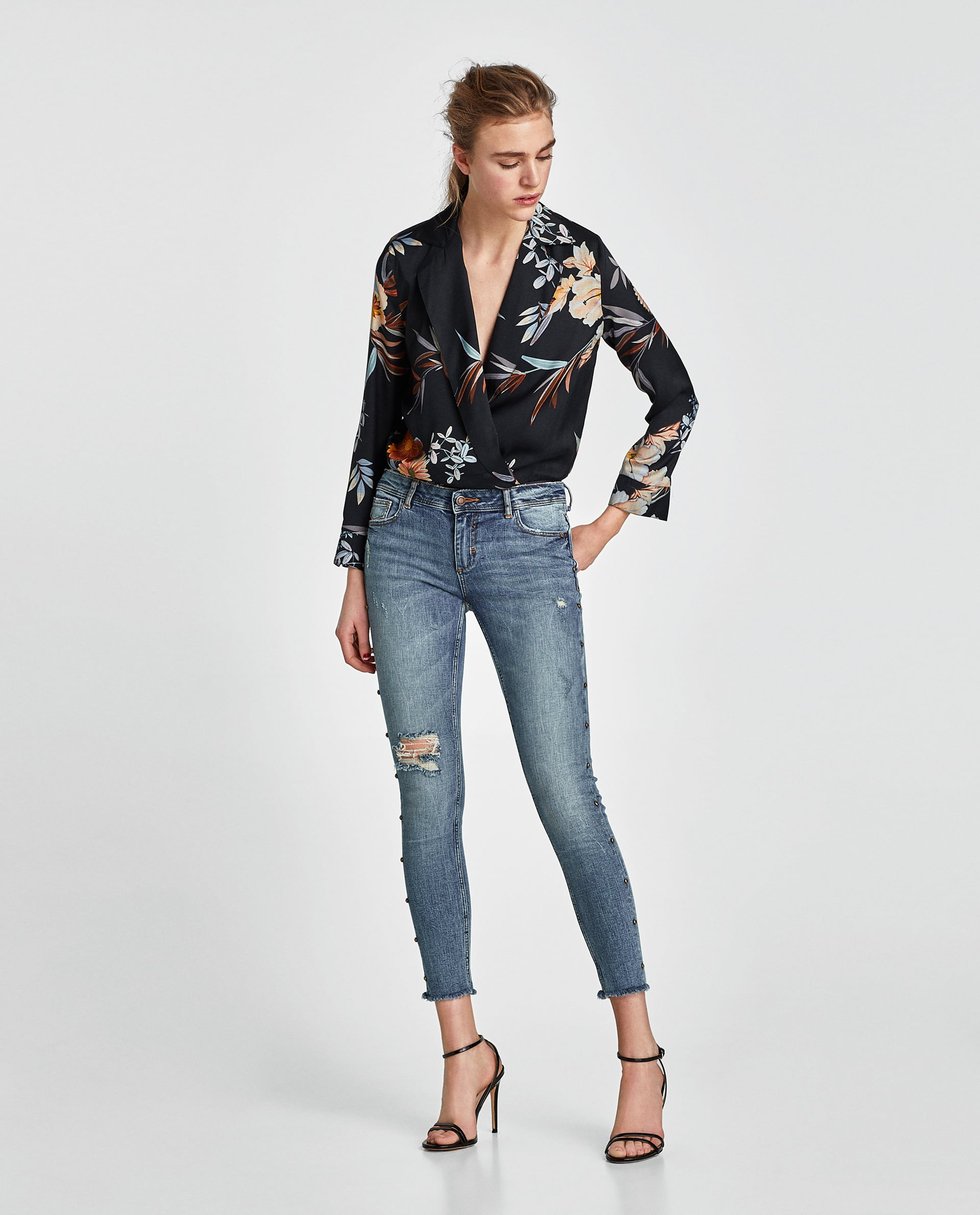 Jeans gioiello con strappi Zara collezione primavera estate 2018