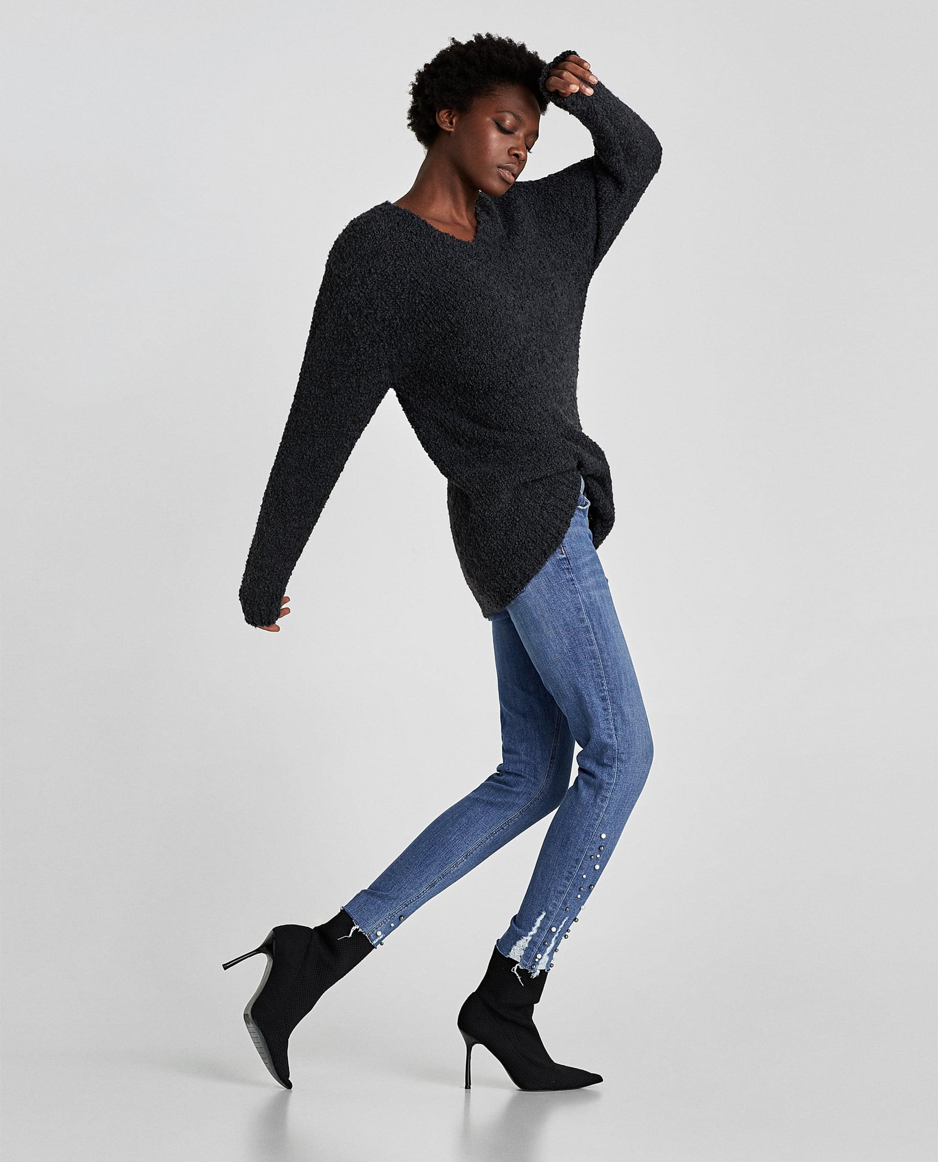 Jeans skinny con perle Zara saldi invernali 2018