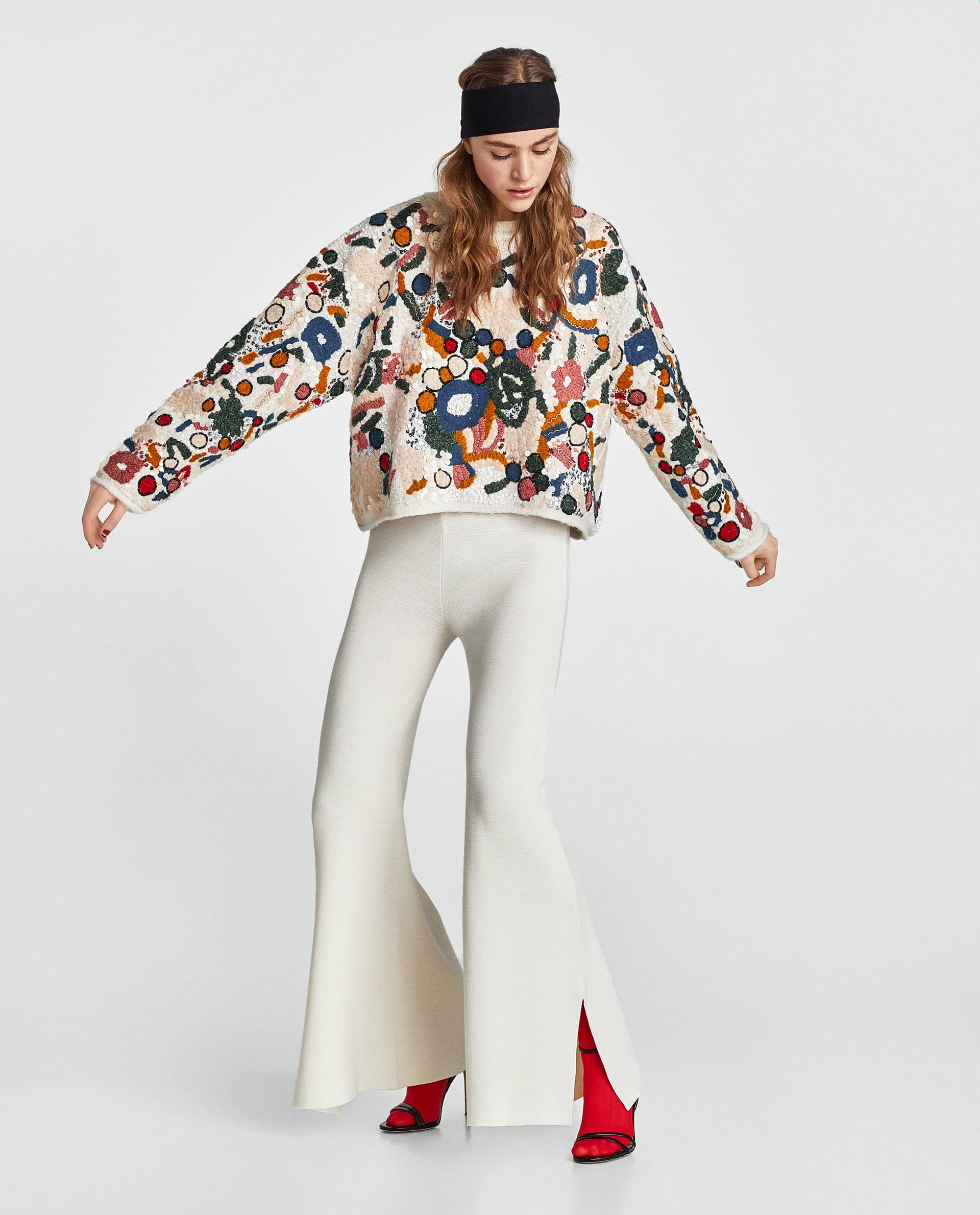 Pantaloni a zampa bianchi Zara collezione primavera estate 2018