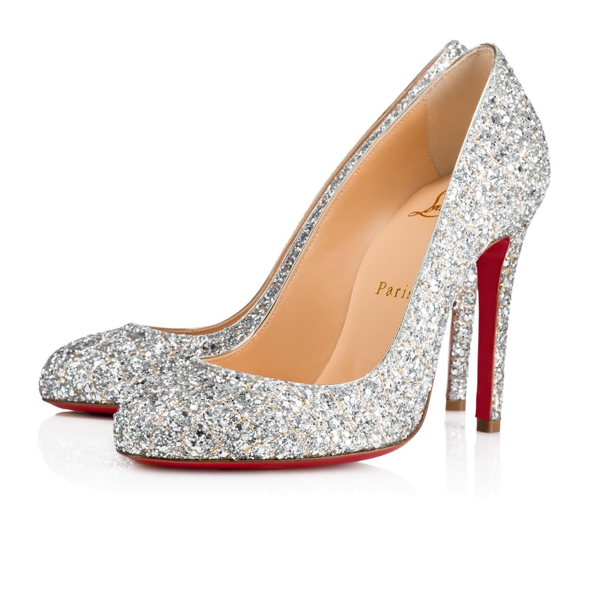Scarpe da sposa argento Christian Louboutin glitter collezione 2018