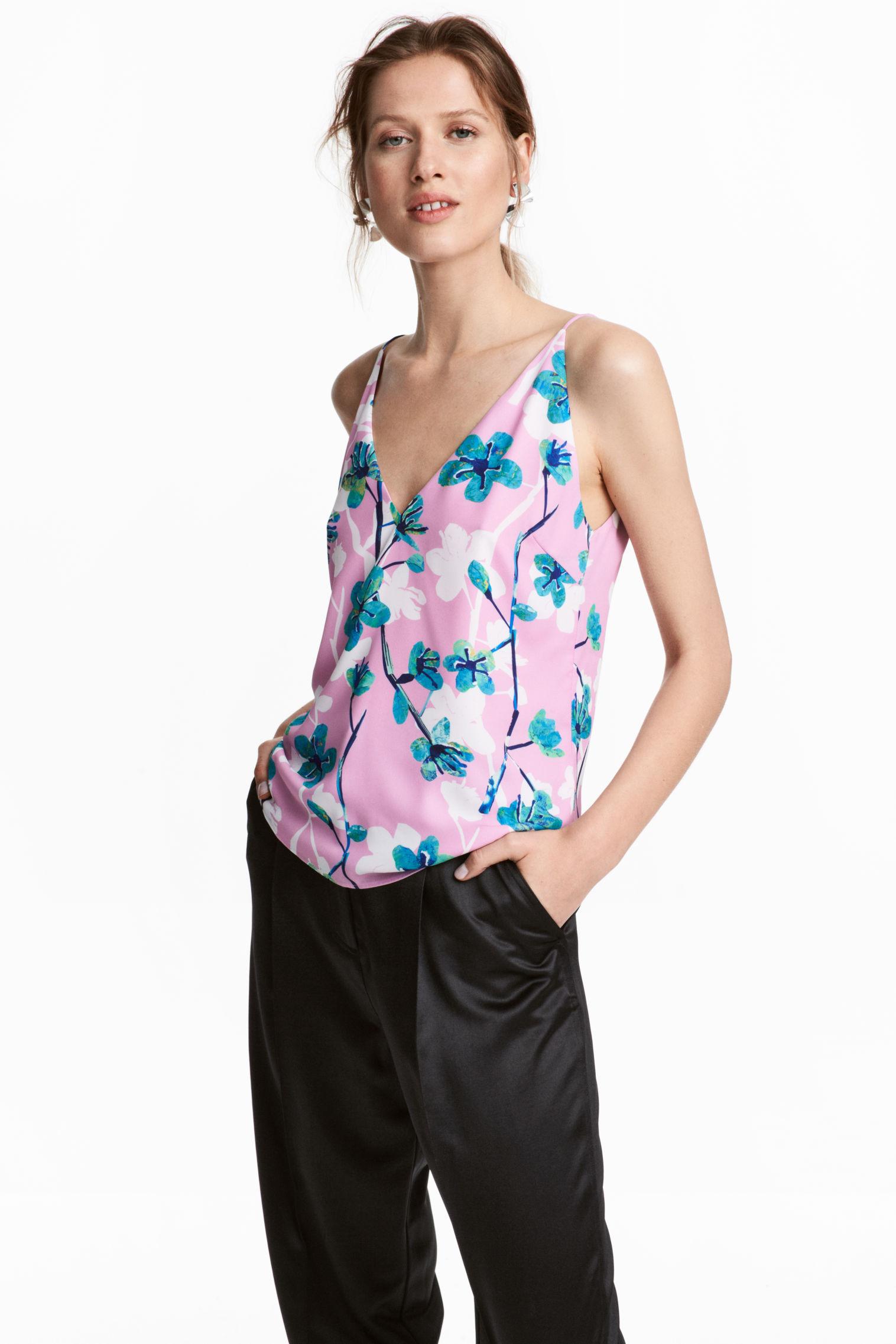 Top rosa a fiori H&M collezione primavera estate 2018