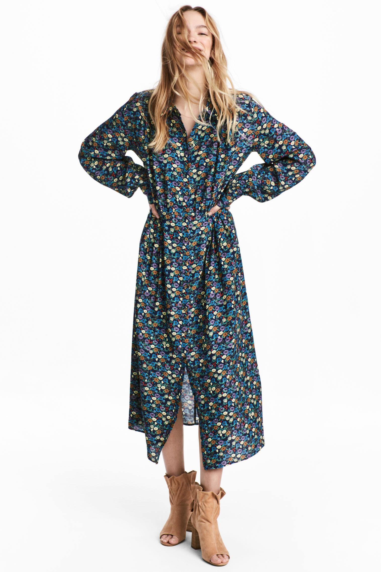 Vestito H&M lungo a fantasia collezione primavera estate 2018