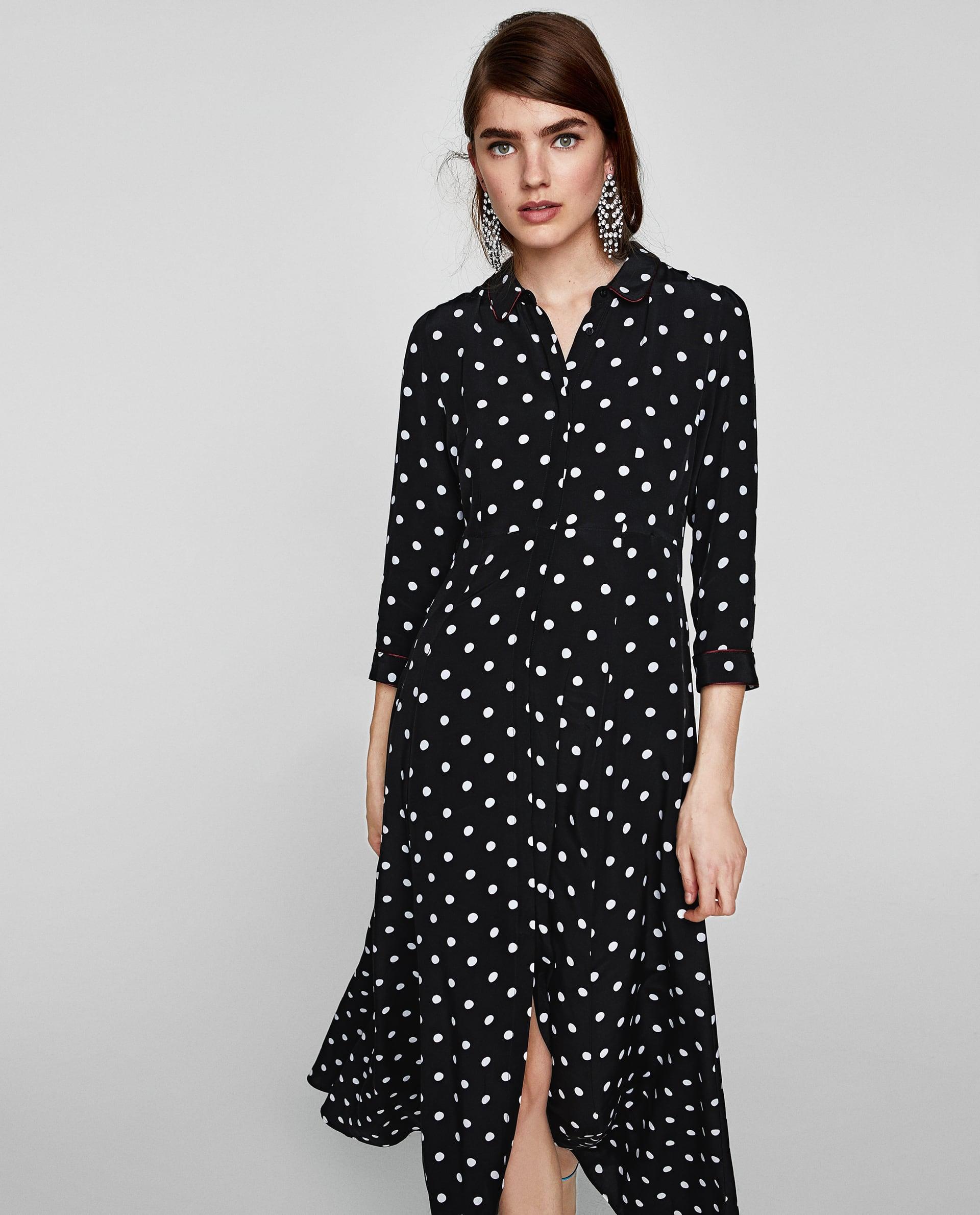 Vestito lungo chemisier a pois Zara collezione primavera estate 2018