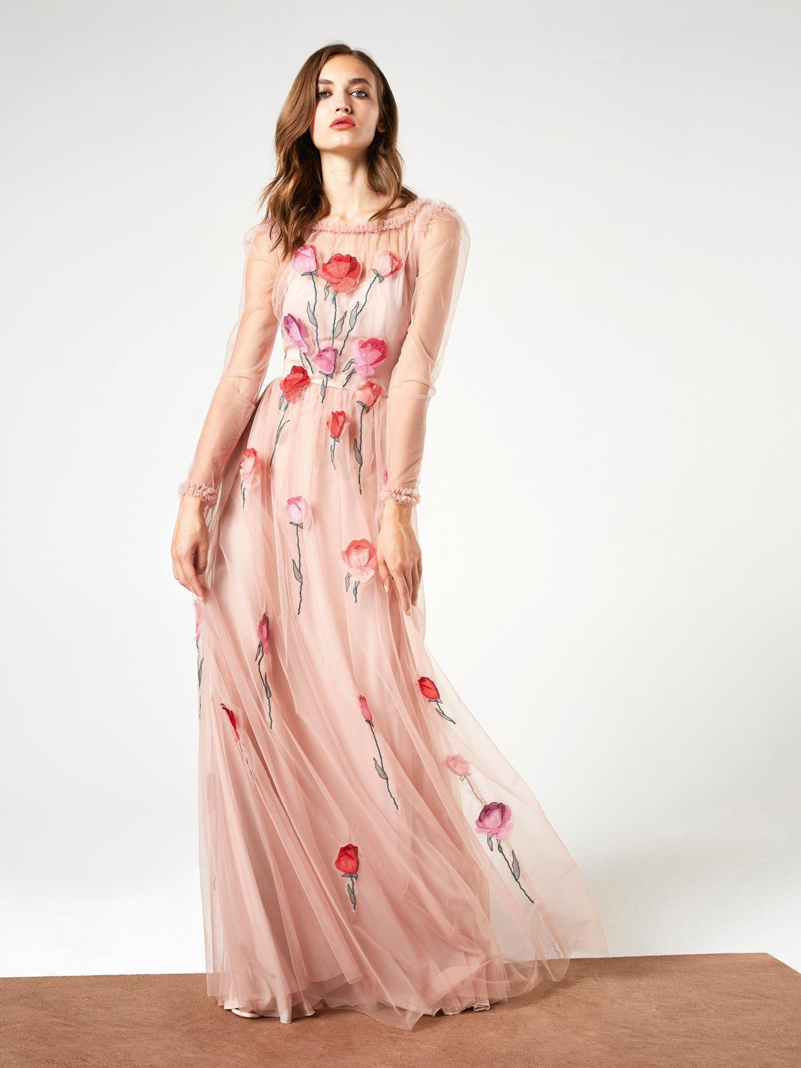 Abito da cerimonia lungo rosa a fiori Blumarine