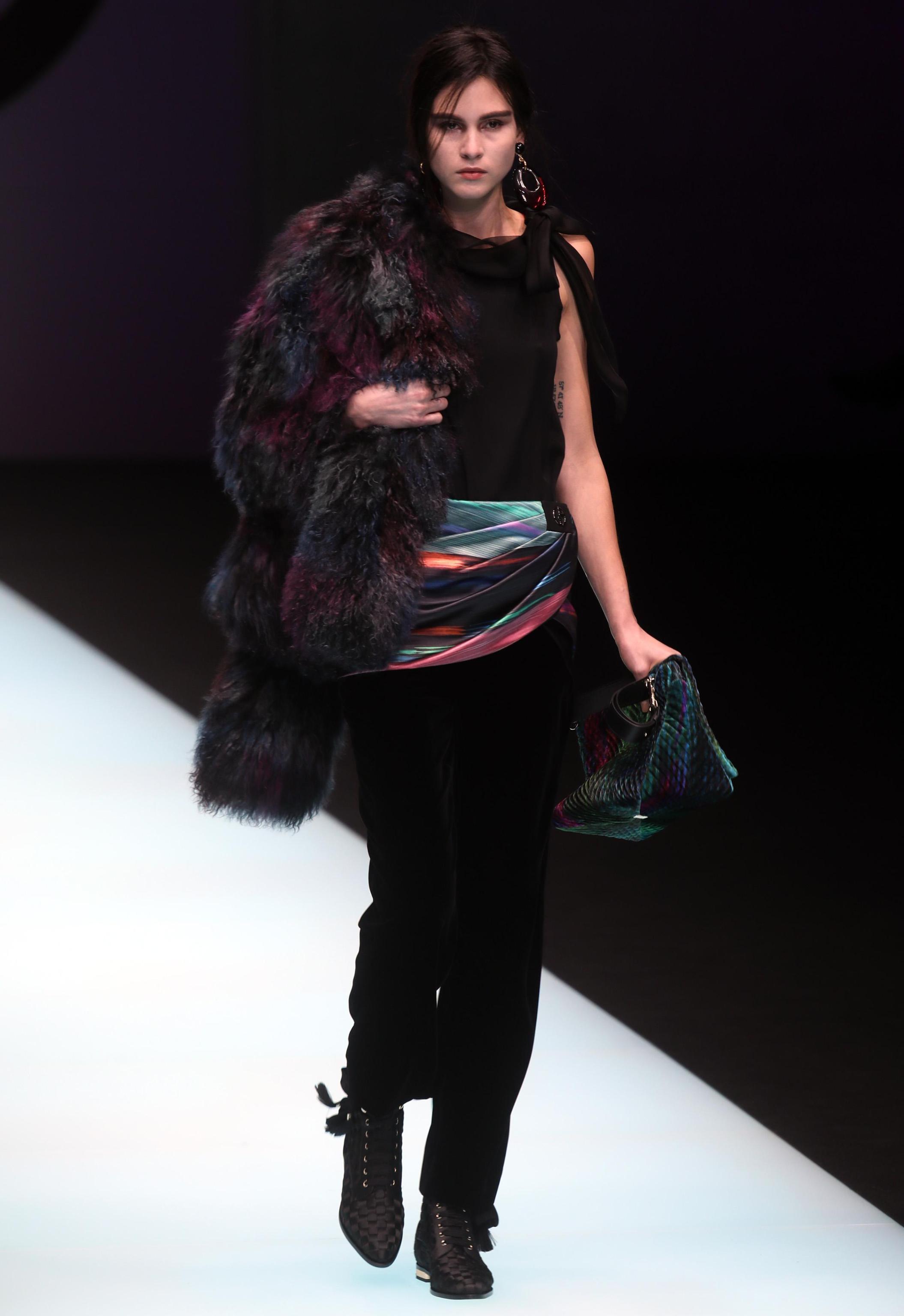 Look con pelliccia Giorgio Armani