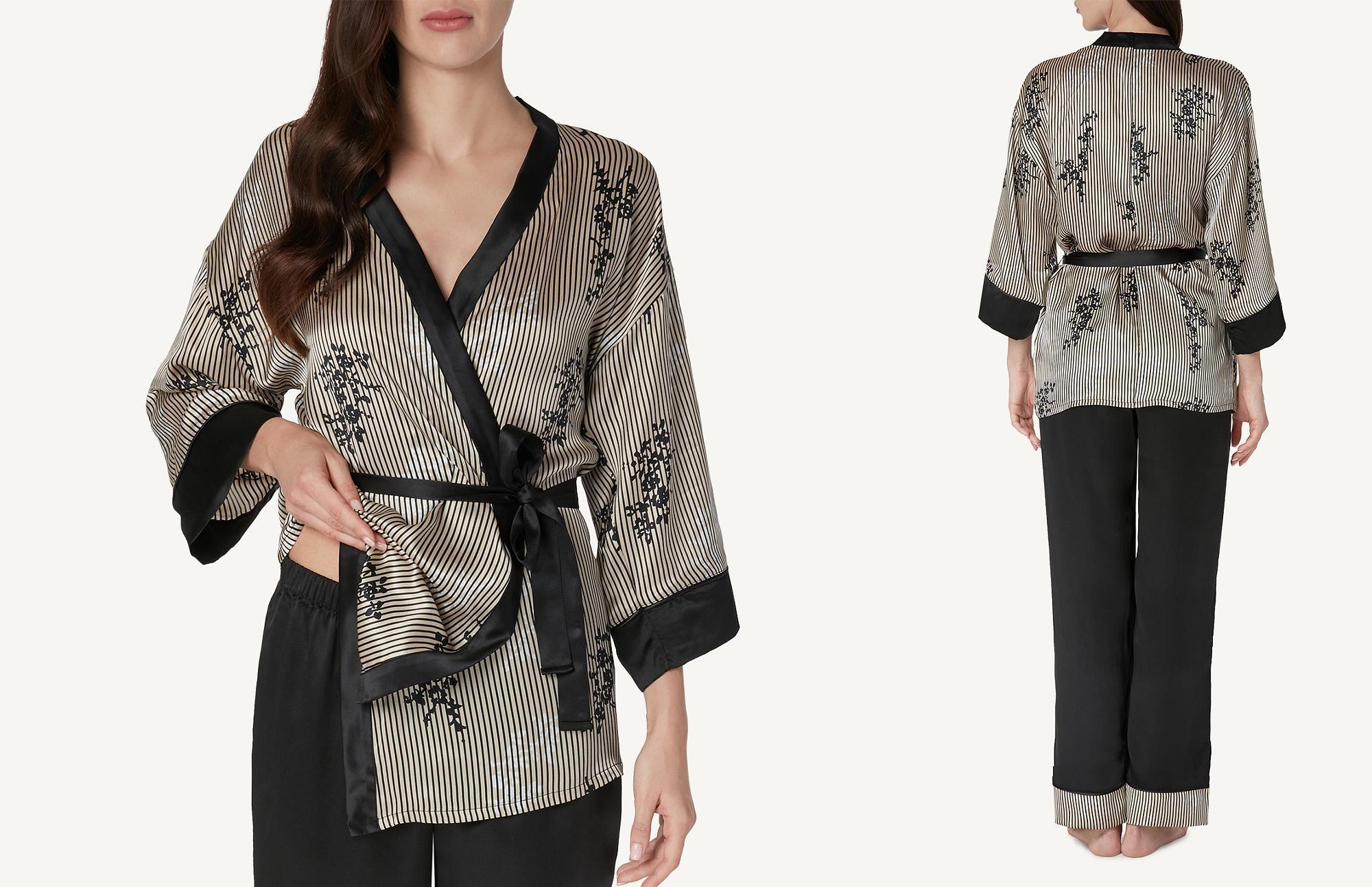 Pigiama Intimissimi con kimono in seta e pantaloni