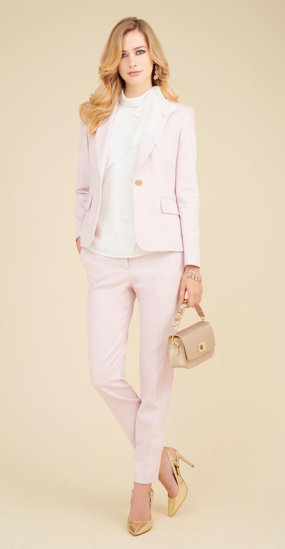 Tailleur da cerimonia rosa cipria Luisa Spagnoli collezione primavera estate 2018