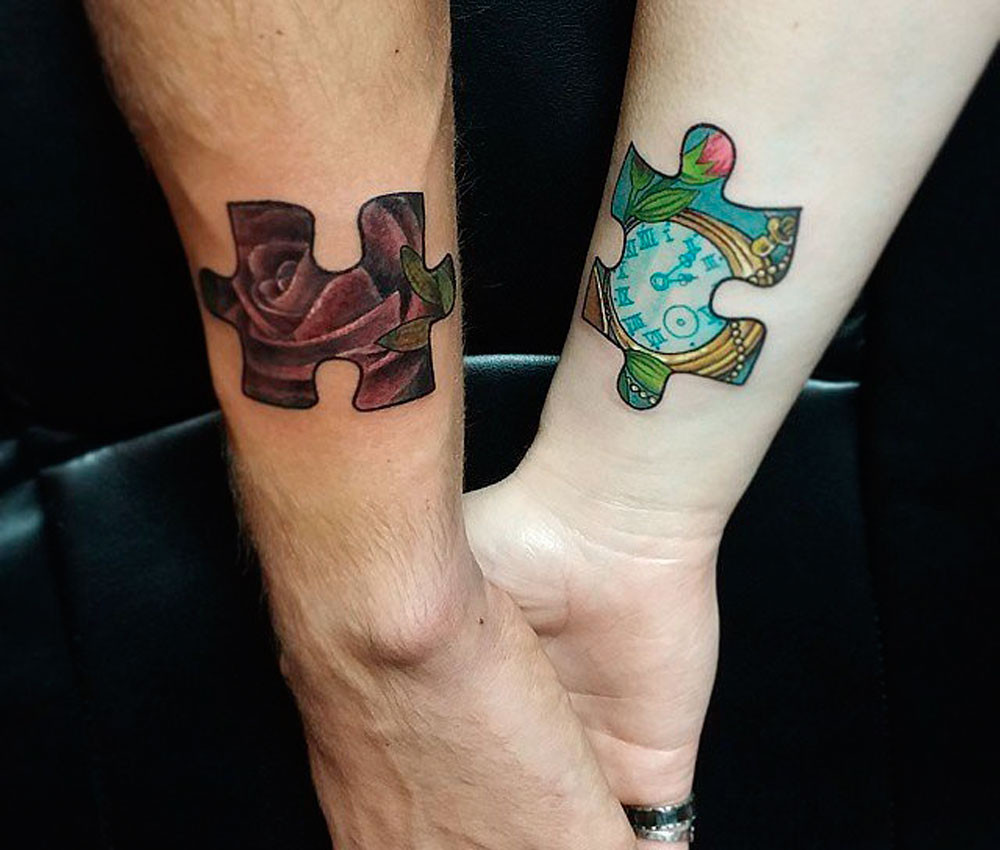 Tatuaggio di coppia puzzle
