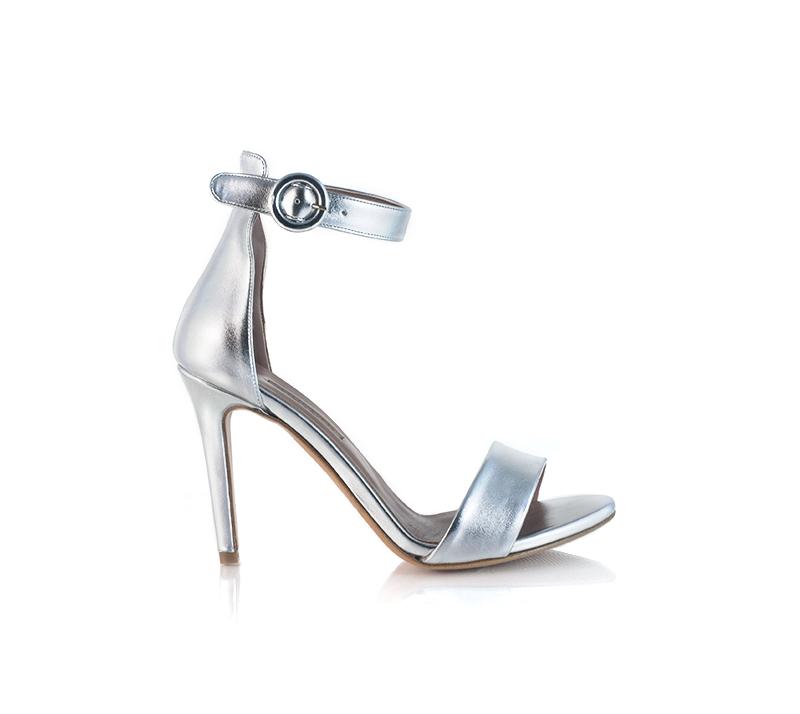 Sandali argento Albano con tacco