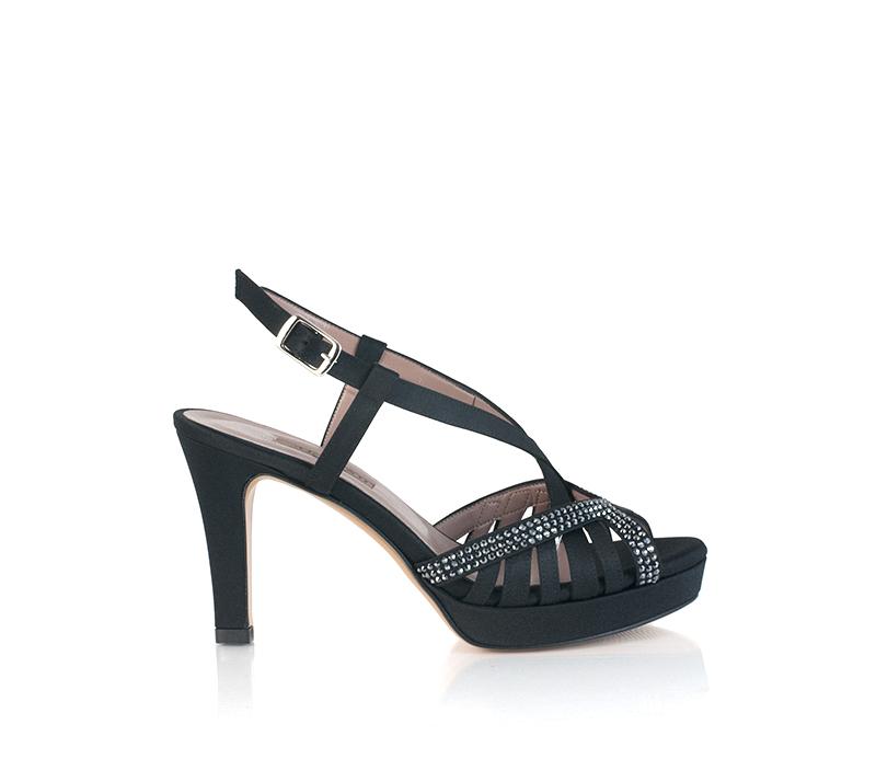 Sandali gioiello neri con tacco e plateau Albano
