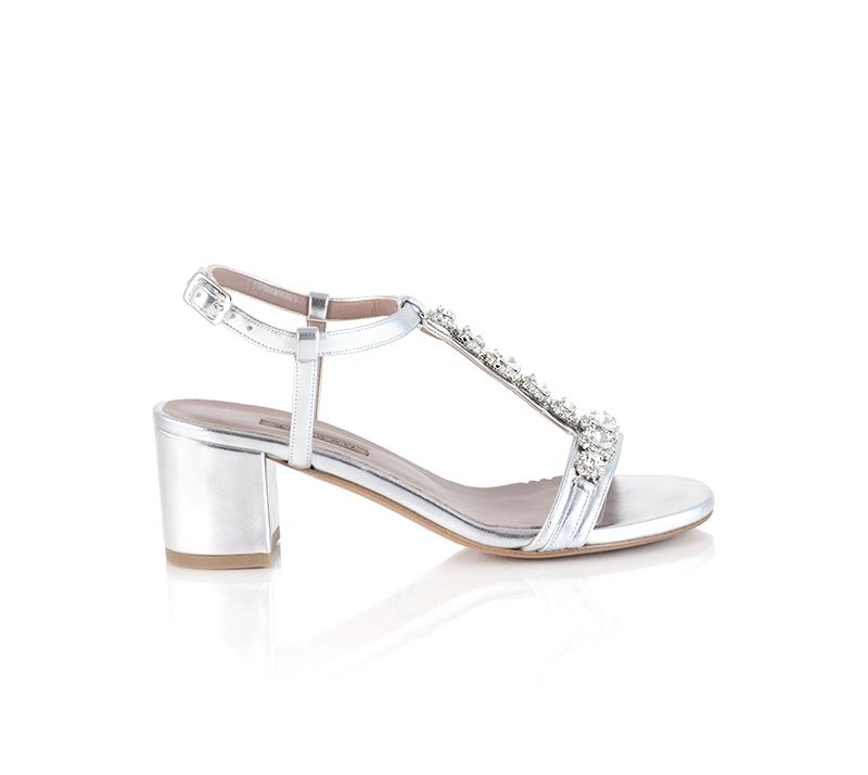 Scarpe gioiello argento Albano con tacco basso