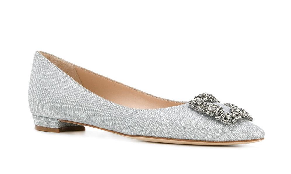 Ballerine argento eleganti Manolo Blahnik