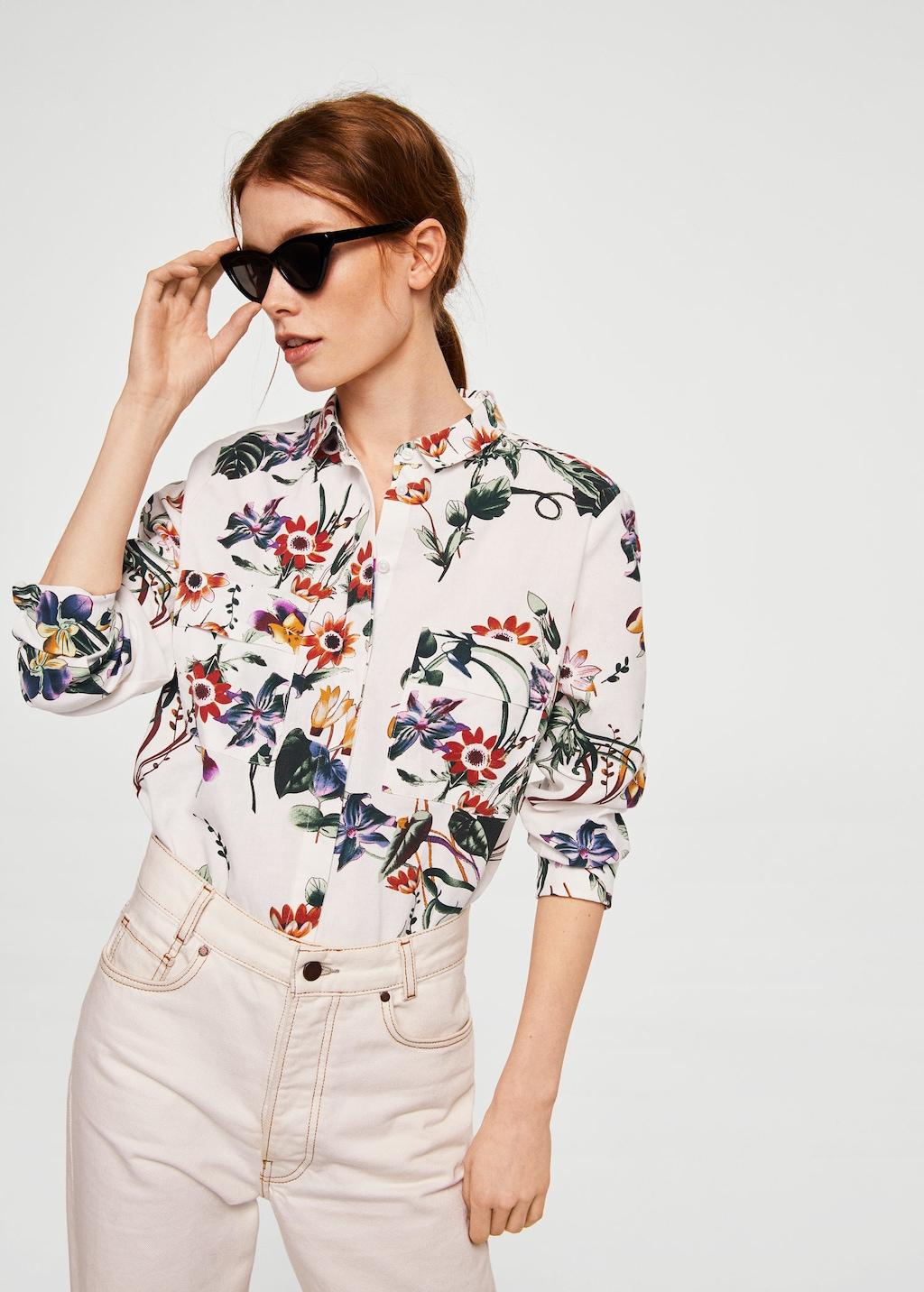 Camicia a fiori Mango in lino