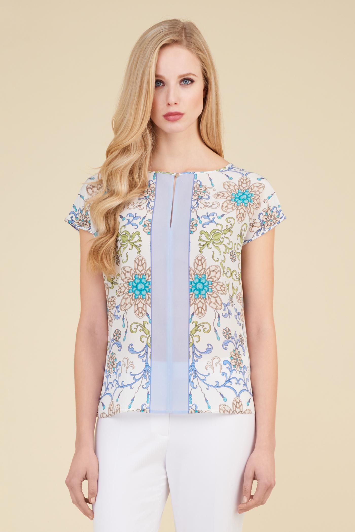 Camicia a fiori elegante in seta Luisa Spagnoli