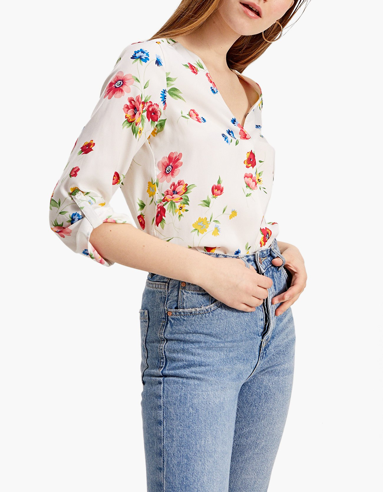 Camicia bianca a fiori Stradivarius