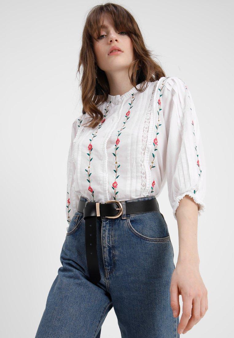 Camicia bianca a fiori Topshop