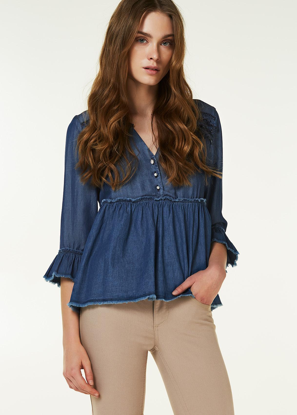 Camicia di jeans plissettata Liu Jo