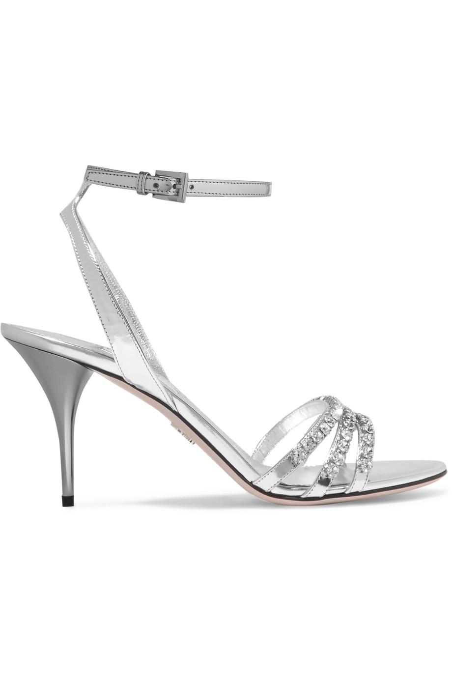 Sandali gioiello argento Prada