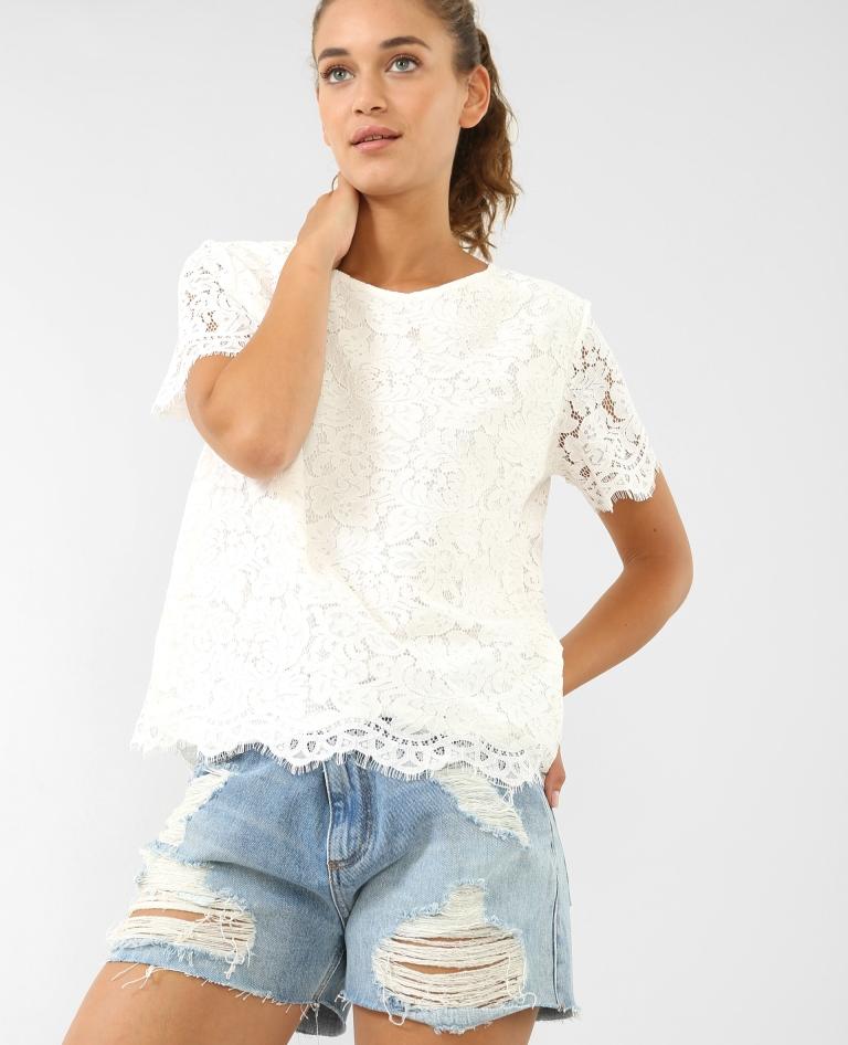 T shirt effetto pizzo Pimkie a 17,99 euro