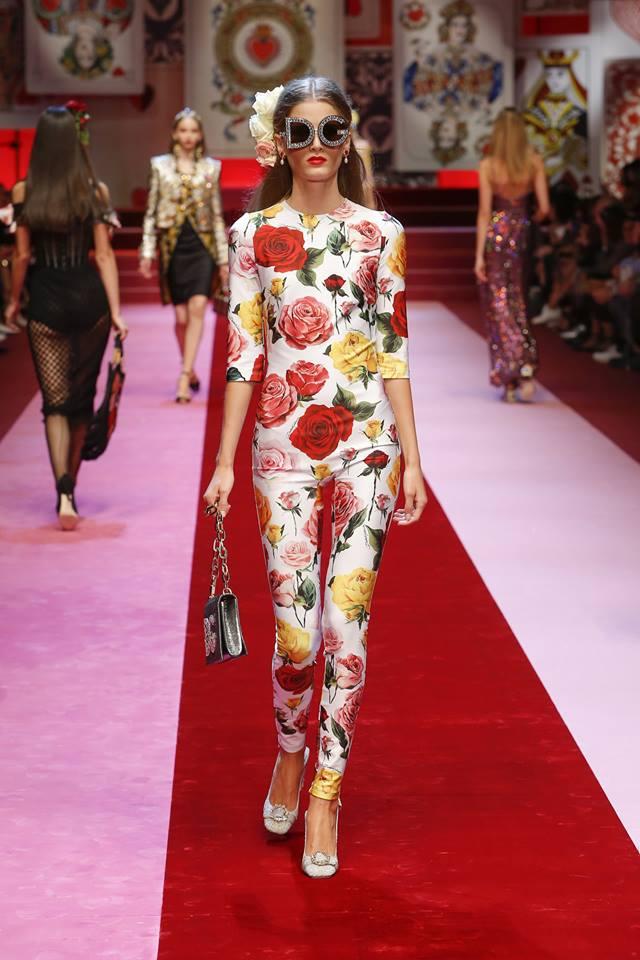 Tuta jumpsuit aderente a fiori Dolce & Gabbana fb