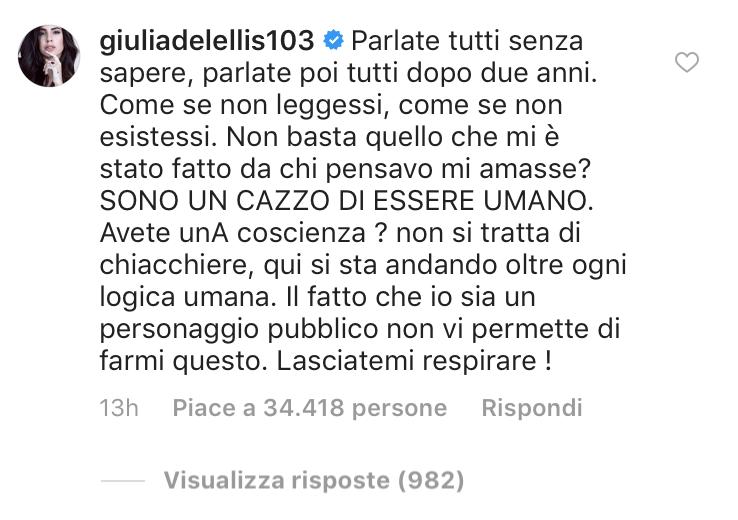 giulia de lellis sfogo instagram