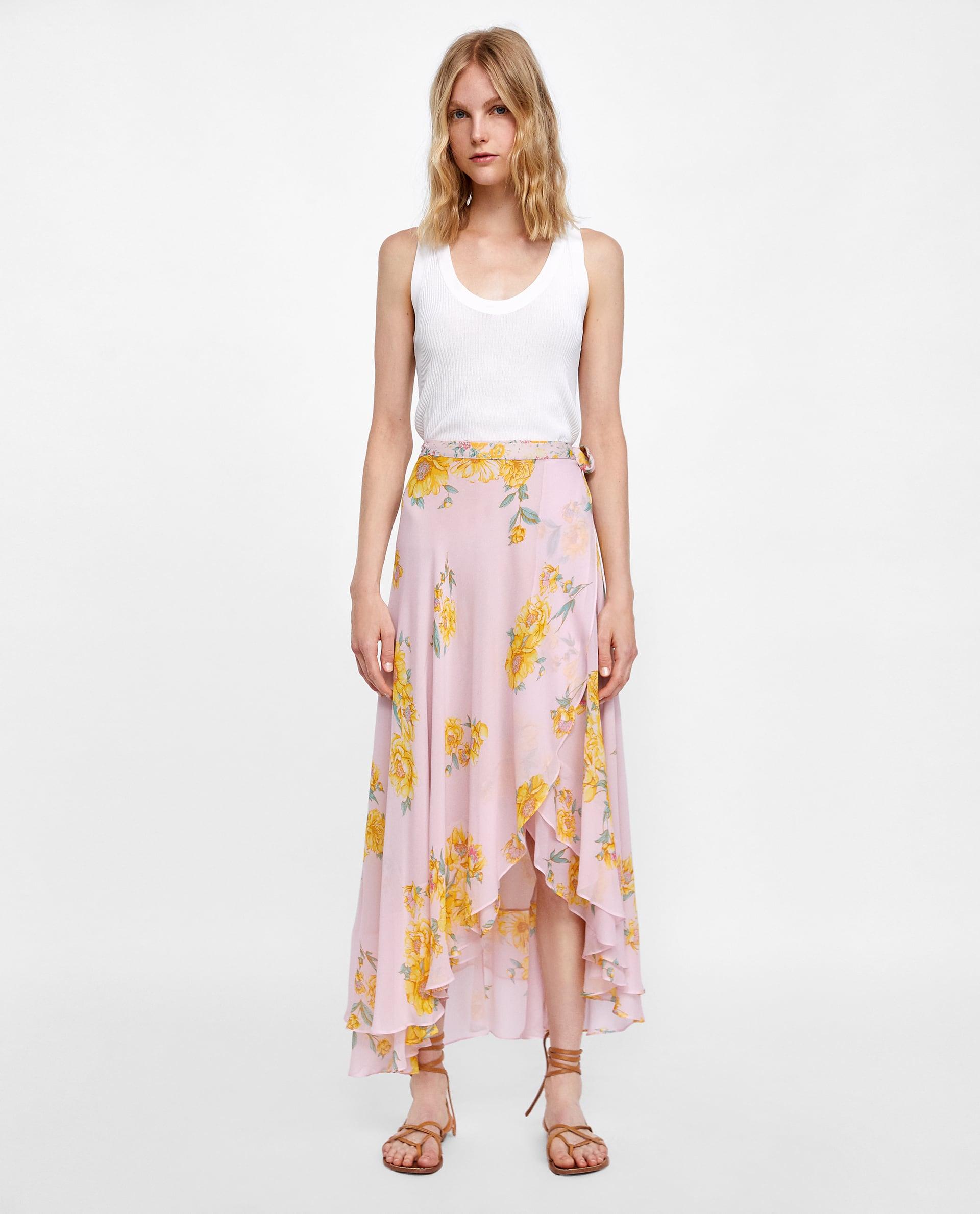 Gonna a fiori Zara lunga, asimmetrica e plissettata