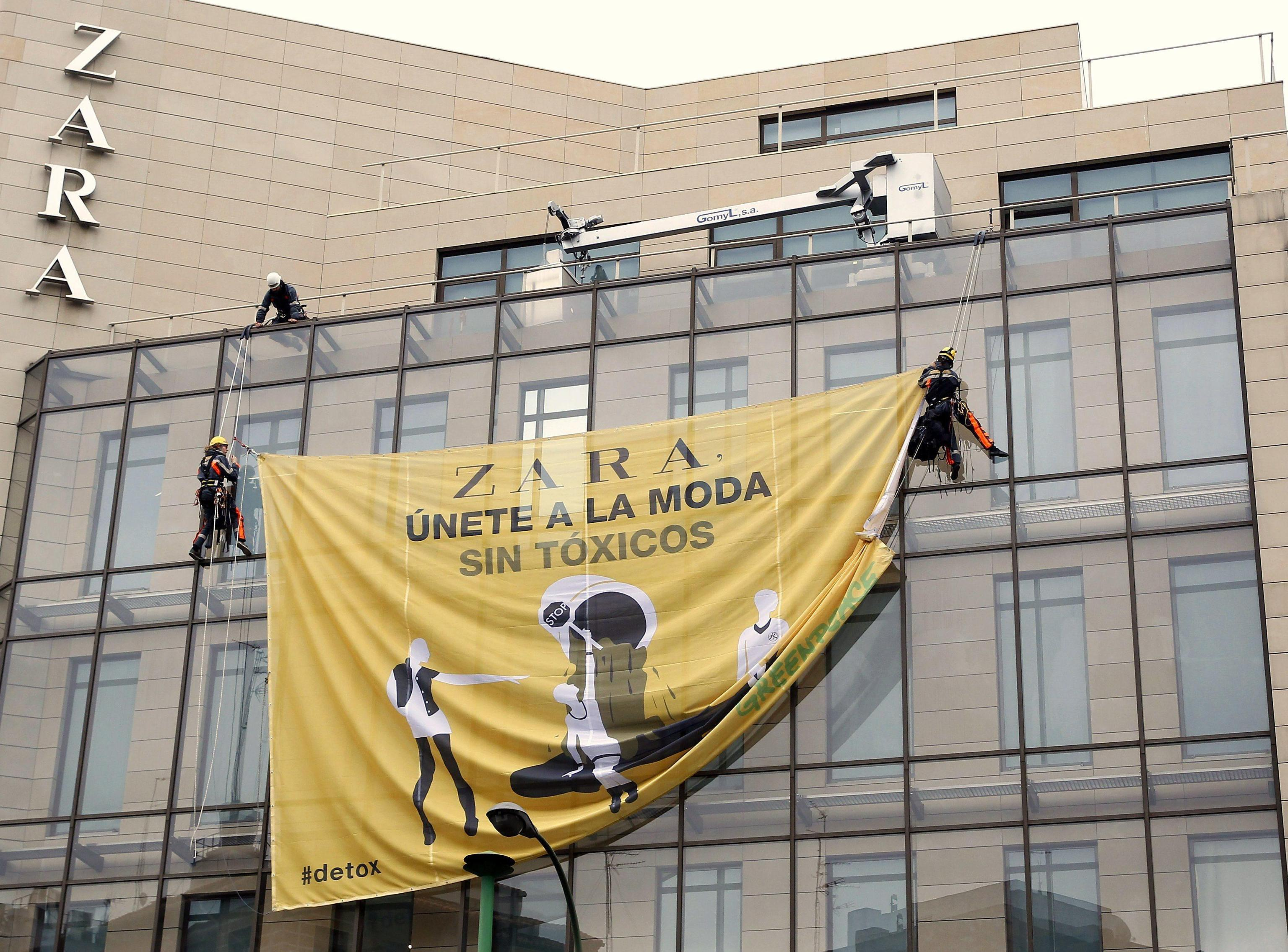 Greenpeace activists protest against the 'use of toxic chemicals' in garments