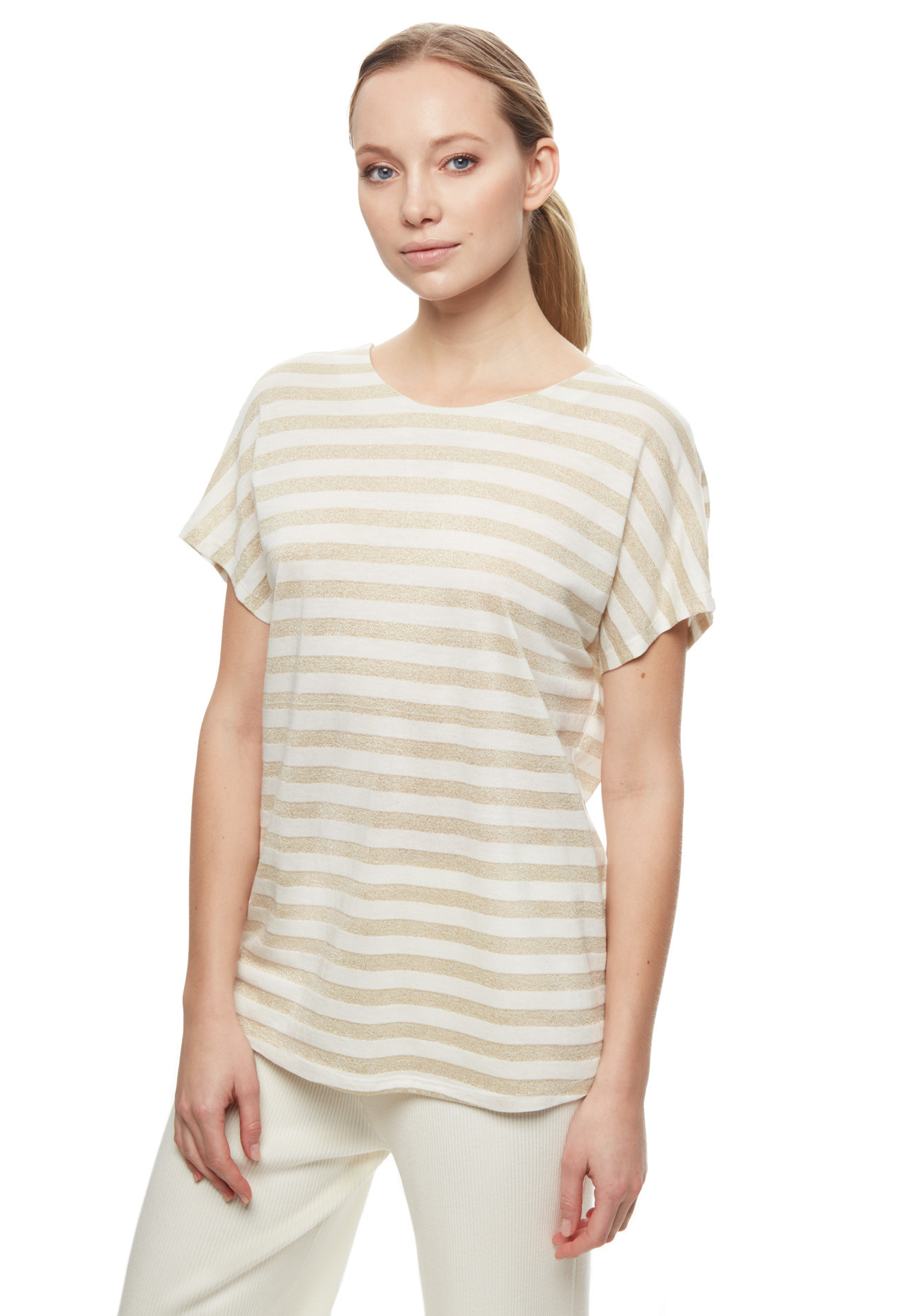 T shirt Stefanel a righe in lurex a 69 euro