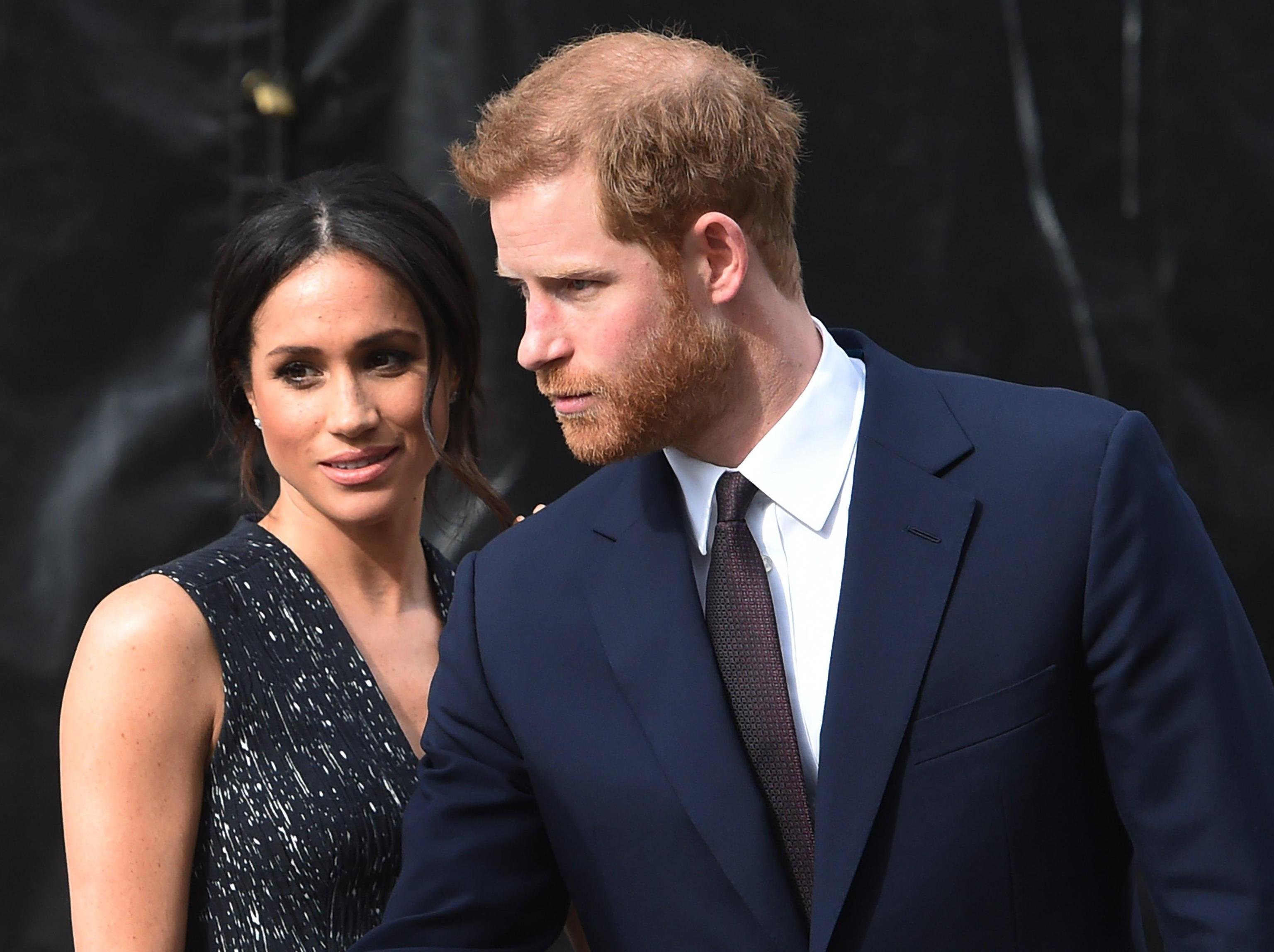 Prince Harry and Meghan Markle attend the Stephen Lawrence memorial in London