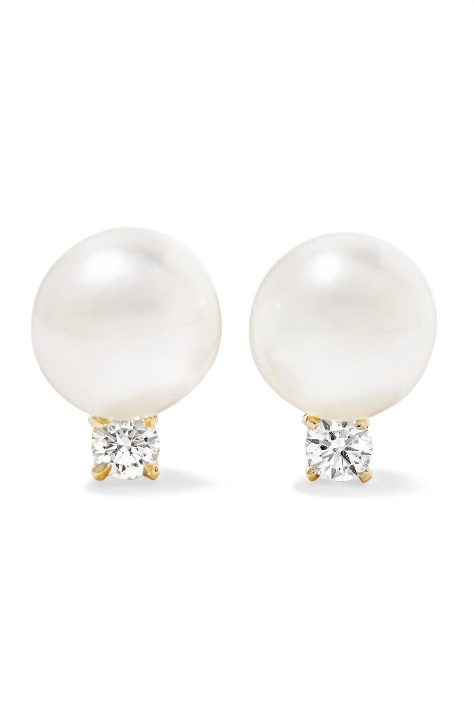Orecchini di perle con diamanti Jemma Wynne 18 carati