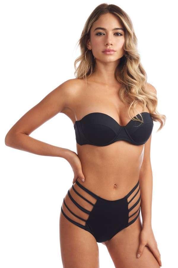 Bikini strapless cut out a vita alta