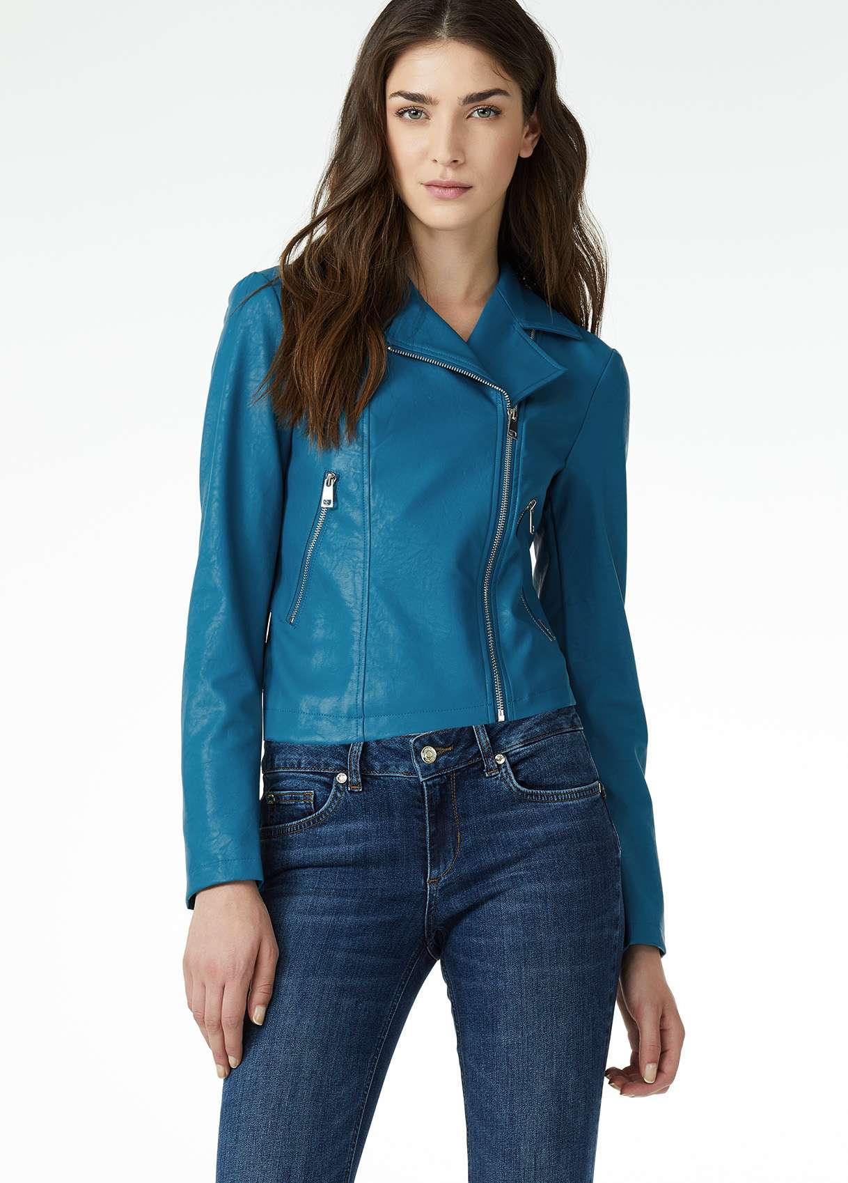 Giacca di pelle blu Liu Jo a 159 euro