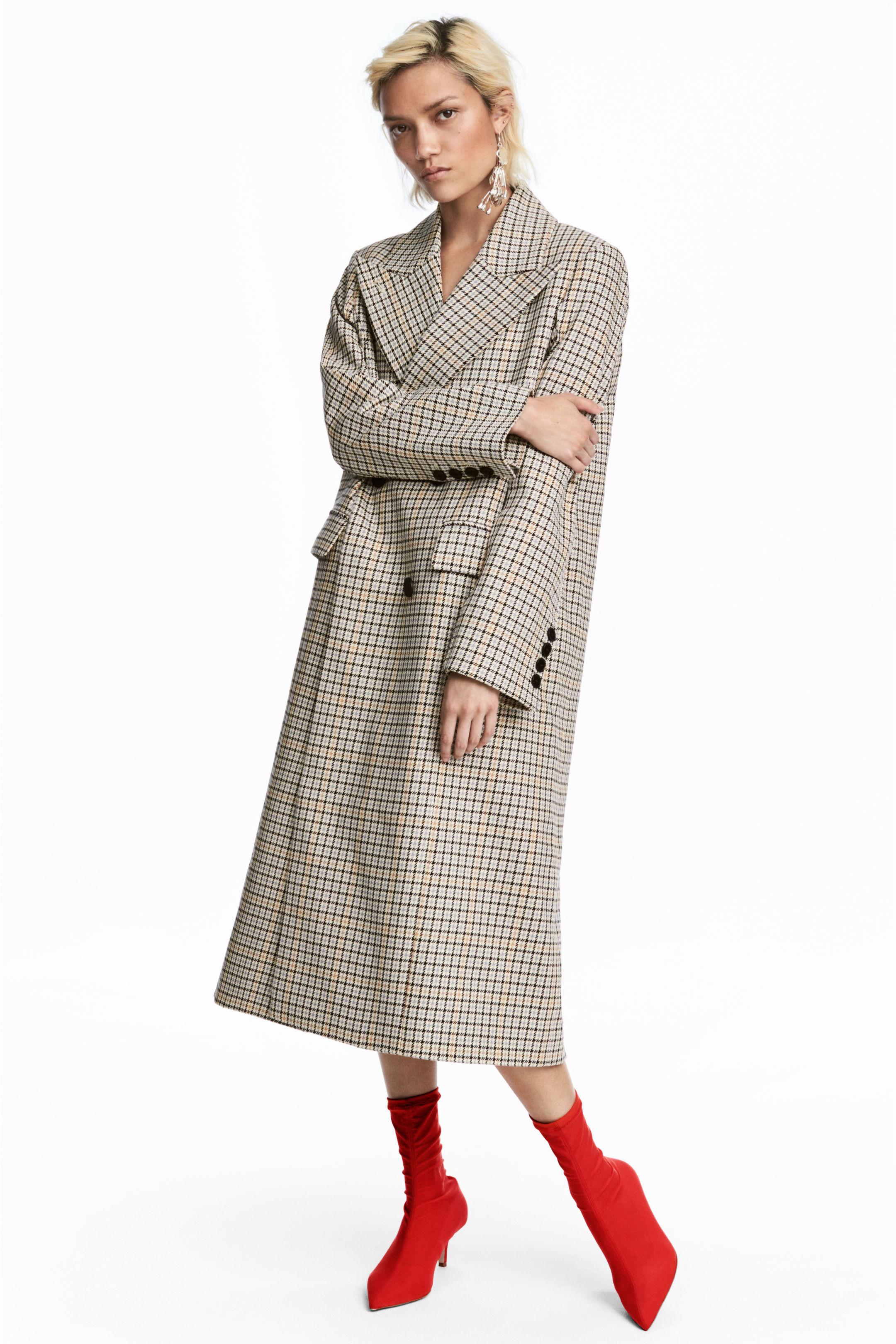 Cappotto doppiopetto a quadri H&M a 99 euro