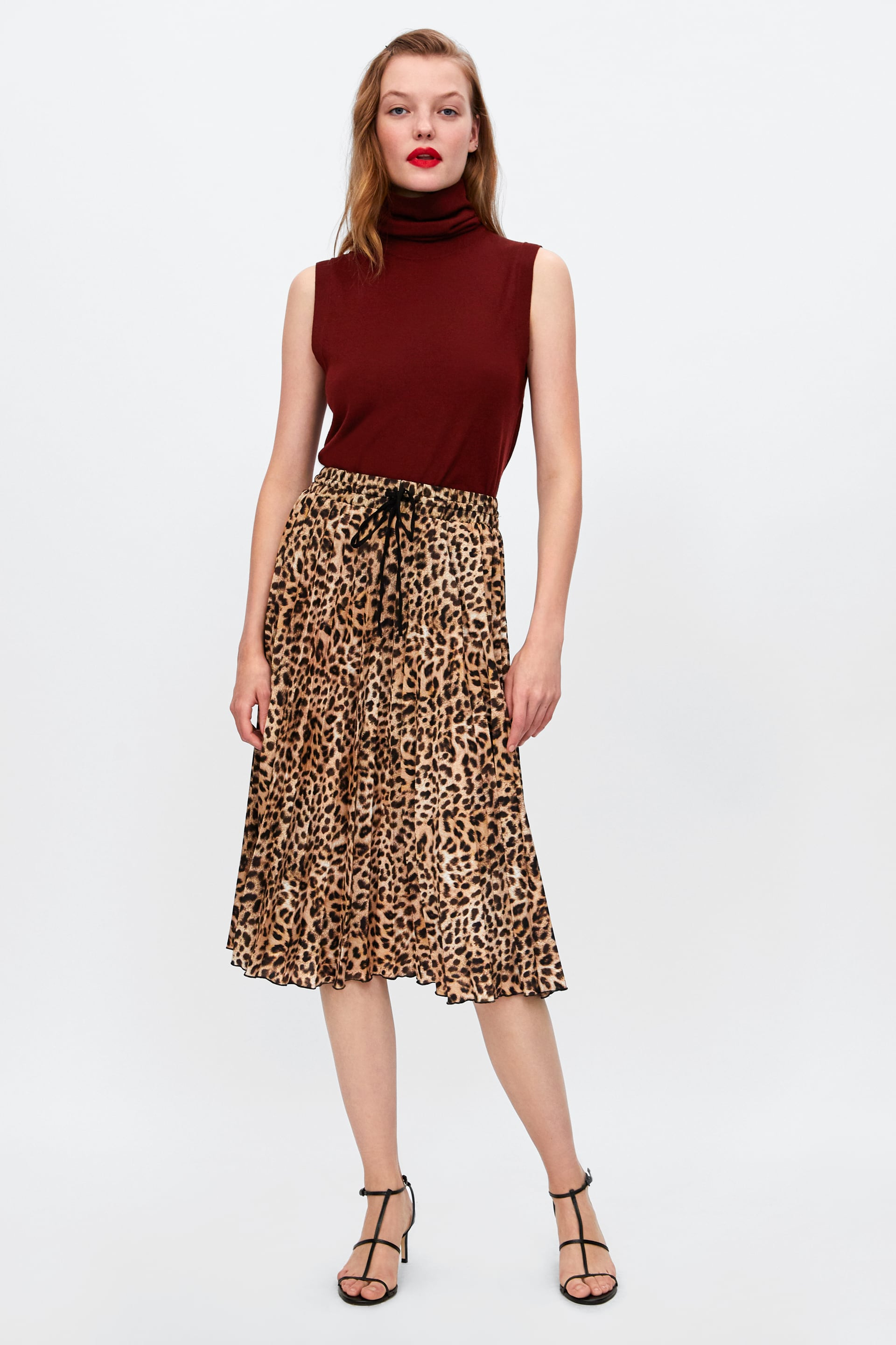 Gonna midi animalier Zara a 39,95 euro