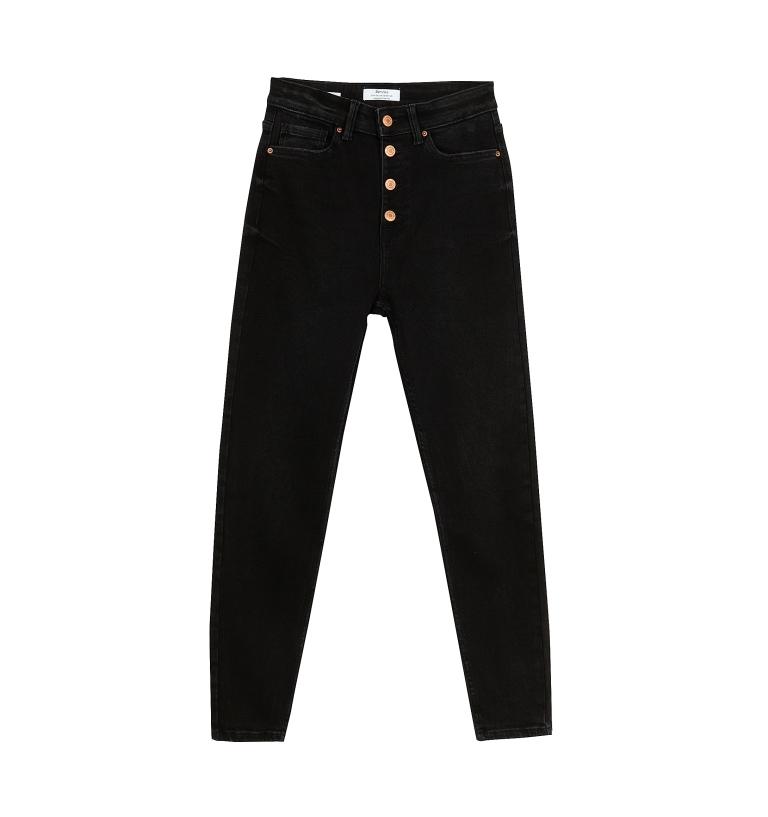 Jeans neri a vita alta Bershka
