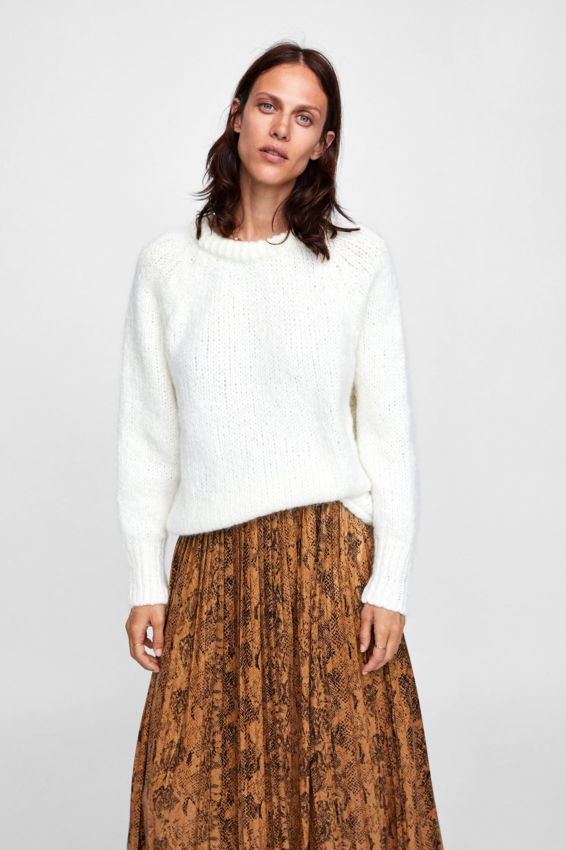 Maglioncino bianco Zara al prezzo di 39,95 euro