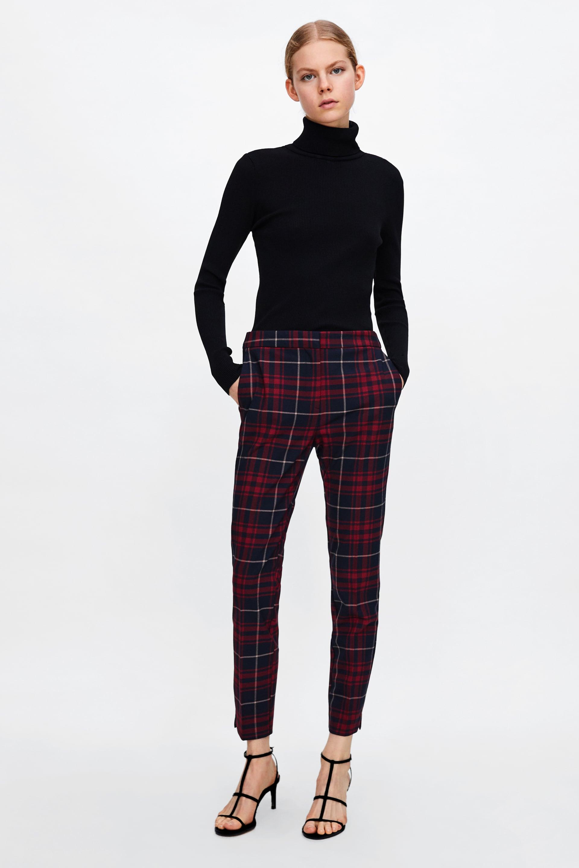 Pantaloni a sigaretta tartan Zara a 29,95 euro