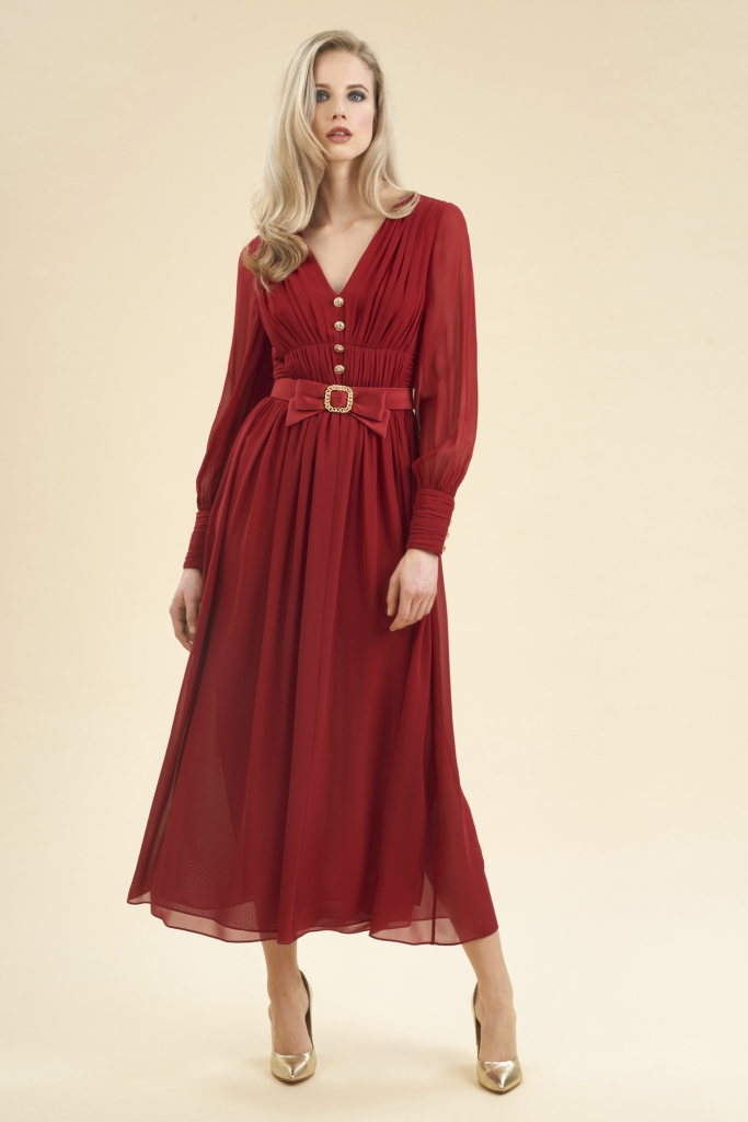 Vestito da cerimonia lungo Luisa Spagnoli in georgette di seta a 630 euro