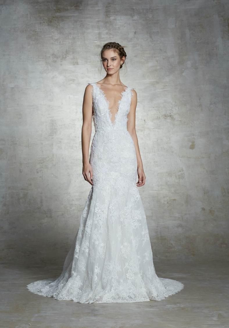 Vestito da sposa a sirena in pizzo Marchesa