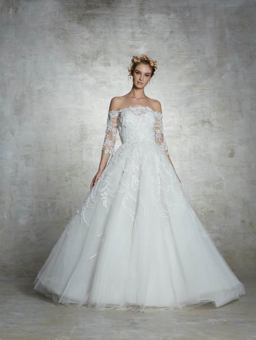Vestito da sposa da principessa in pizzo Marchesa