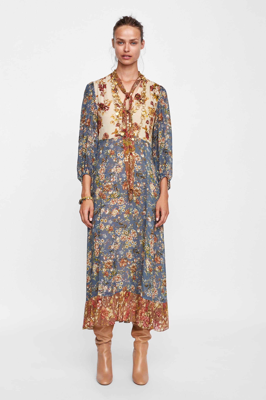 Vestito lungo con stampa tapestry Zara a 69 bcdcf12cdda