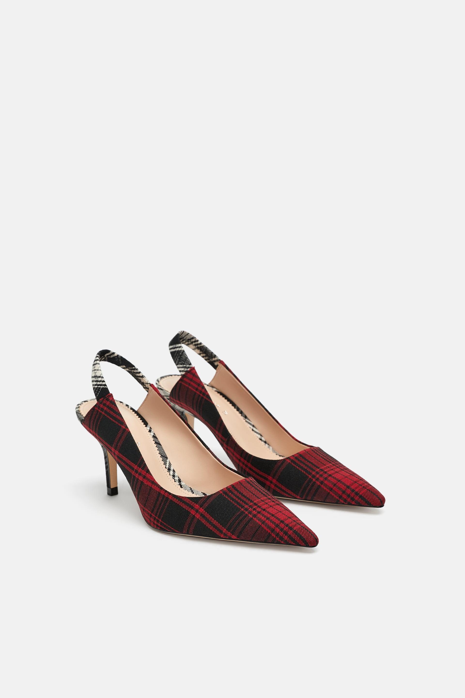 Scarpe con tacco a quadri Zara a 49,95 euro autunno inverno 2018 2019