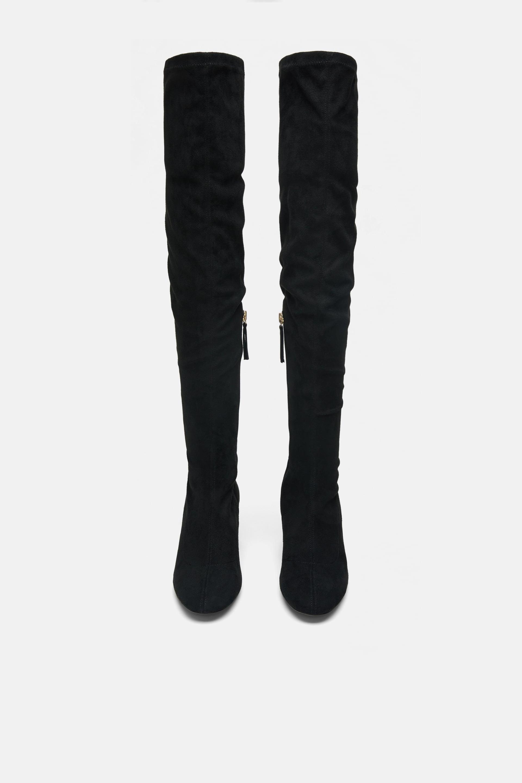 Stivali alla coscia con tacco Zara a 59,95 euro autunno inverno 2018 2019