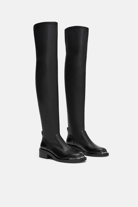 Stivali sopra il ginocchio senza tacco Zara a 59,95 euro autunno inverno 2018 2019