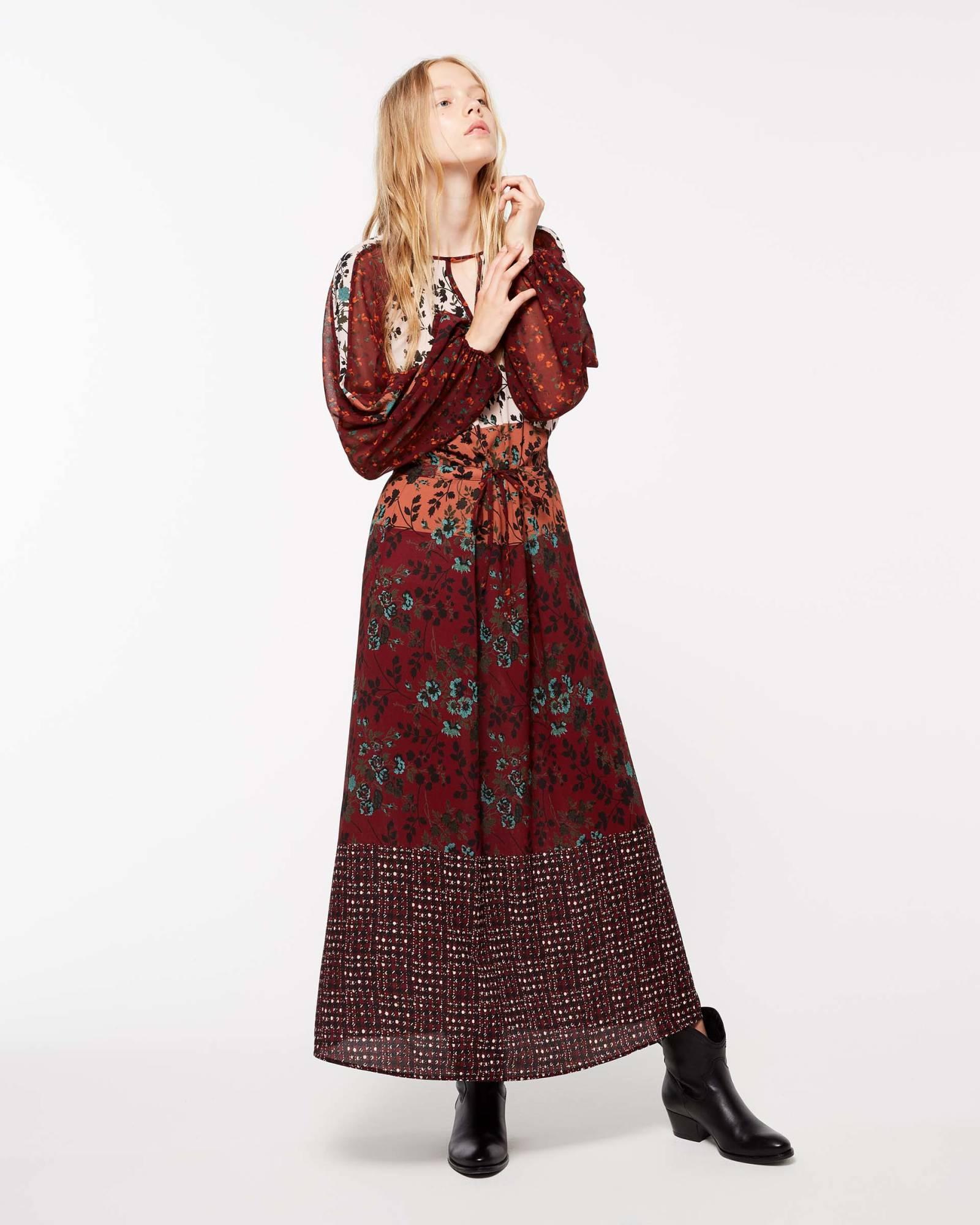 Vestito lungo stile etnico Sisley collezione autunno inverno 2018 2019