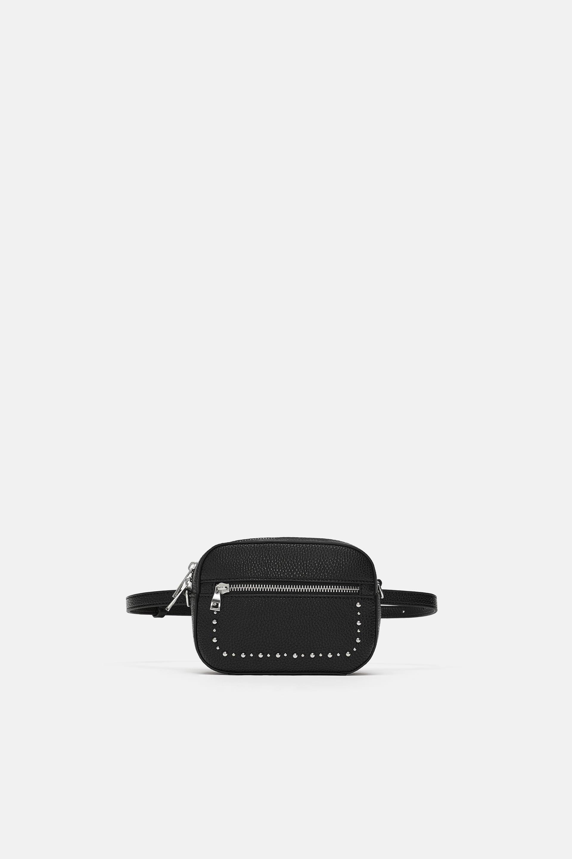 Marsupio nero con borchie Zara a 19,95 euro