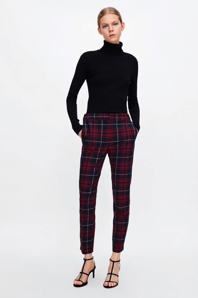 Pantaloni a sigaretta tartan Zara inverno 2019